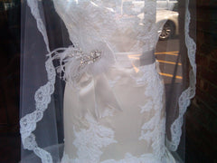 Lazaro: vanilla fit & flare silk satin with alencon lace detail - Lazaro - Nearly Newlywed Bridal Boutique - 8