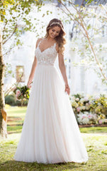 Stella York '6555 IV' size 4 new wedding dress front view on bride