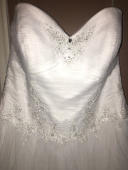 David's Bridal 'Jewel Strapless' size 12 new wedding dress front view close up