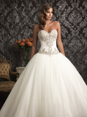 Allure Bridals '9017' size 6 new wedding dress front view on model