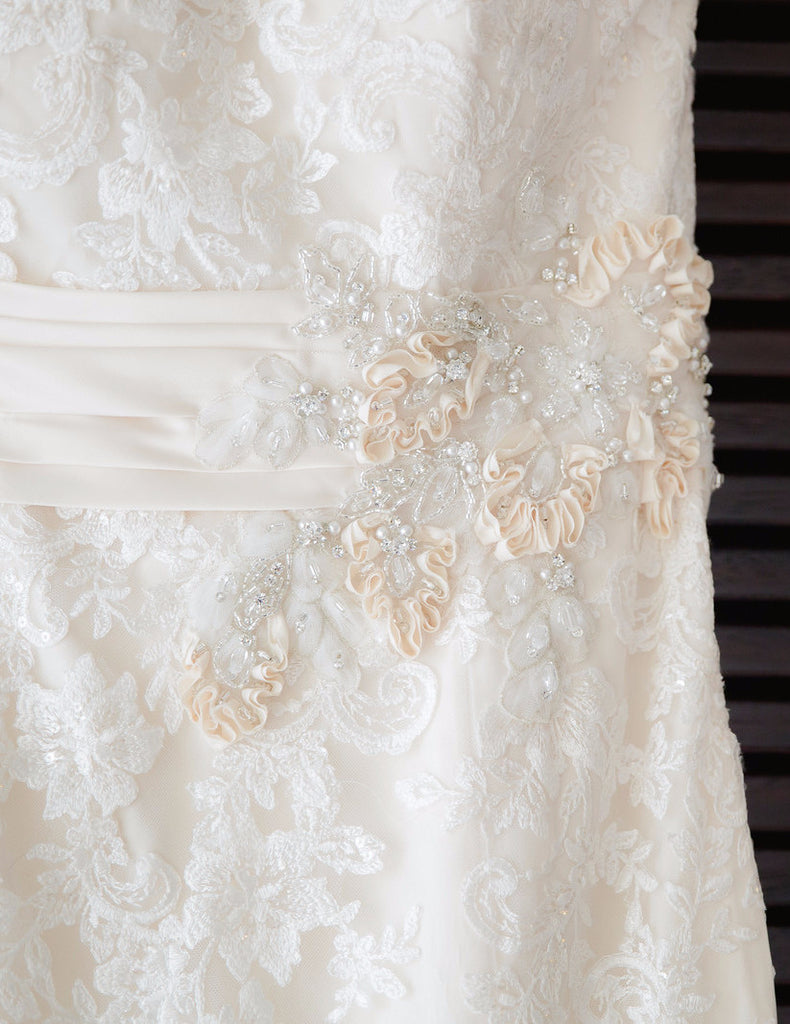 Allure '8917' size 16 used wedding dress close up of fabric