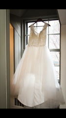 Gloss House by Nada 'Custom' size 10 used wedding dress front view on hanger