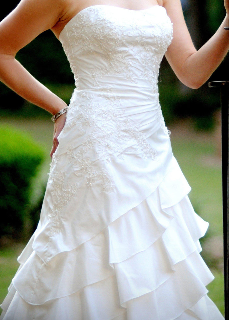 Allure Romance Fit and Flare Strapless Wedding Gown - Allure - Nearly Newlywed Bridal Boutique - 4