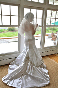 Kenneth Pool 'Marlene' Satin Trumpet Wedding Dress - Kenneth Pool - Nearly Newlywed Bridal Boutique - 3