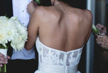 Load image into Gallery viewer, Amsale 'Cameron' size 2 used wedding dress back view on bride