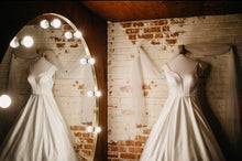 Load image into Gallery viewer, Moonlight 'J6503' size 4 used wedding dress front/back views on hanger