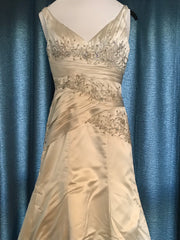 Alfred Sung '20822499' size 8 used wedding dress front view on hanger