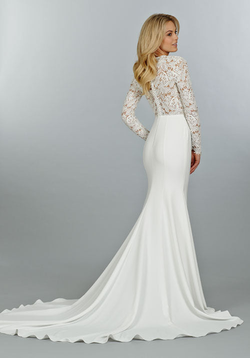 Tara Keely 'Lace and Crepe' size 8 new wedding dress side view on model