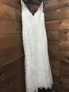 Allure Bridals 'Allure Romance 2606' size 8 used wedding dress front view on hanger