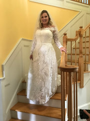 Oleg Cassini 'Off Shoulder Lace' size 14 used wedding dress front view on bride