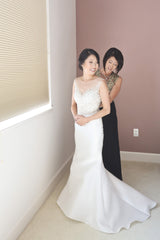 Martina Liana 'Selene' size 0 used wedding dress front view on bride