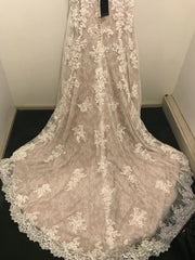 Justin Alexander 'Allover Lace/Illusion' size 14 new wedding dress back view on hanger