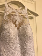 Pronovias 'Lace' size 10 used wedding dress front view on hanger