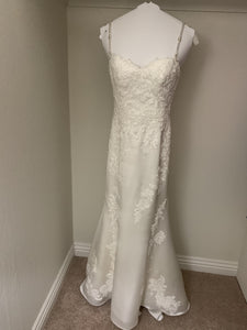 Pronovias 'Drens' size 4 used wedding dress front view on hanger