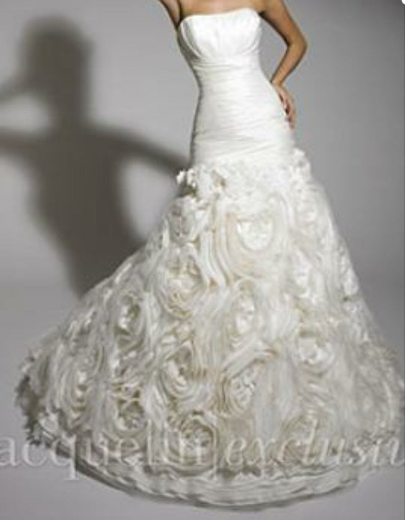 Jacquelin Exclusive '19881' size 6 new wedding dress front view on model