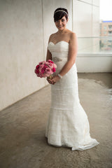 Wtoo 'Renee Lace and Tulle' size 6 used wedding dress front view on bride