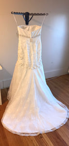 Oleg Cassini 'CWG377' size 14 new wedding dress back view on hanger