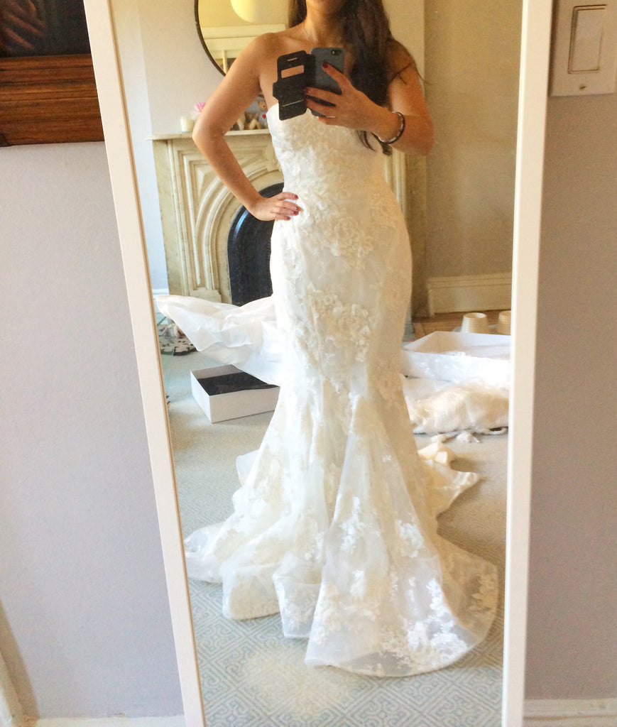 Marchesa 'Daphne' size 2 used wedding dress front view on bride
