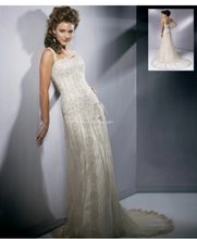 Load image into Gallery viewer, Maggie Sottero 'Gatsby' size 8 used wedding dress front view on model
