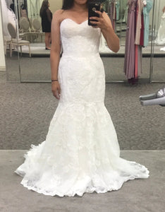 David's Bridal 'Signature Galina' size 10 new wedding dress front view on bride