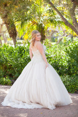 Allure Bridals 'C244' size 10 used wedding dress back view on bride