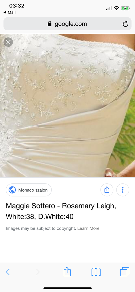 Maggie Sottero 'Rosemary Leigh' size 14 used wedding dress front view close up