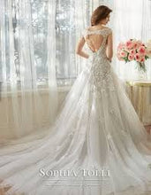Load image into Gallery viewer, Sophia Tolli 'Vasya' size 14 used wedding dress back view on model
