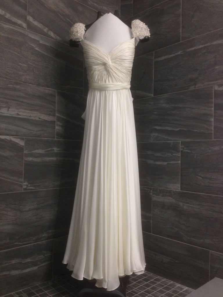 Reem Acra 'Olivia' size 10 used wedding dress front view on hanger