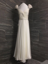 Load image into Gallery viewer, Reem Acra 'Olivia' size 10 used wedding dress front view on hanger