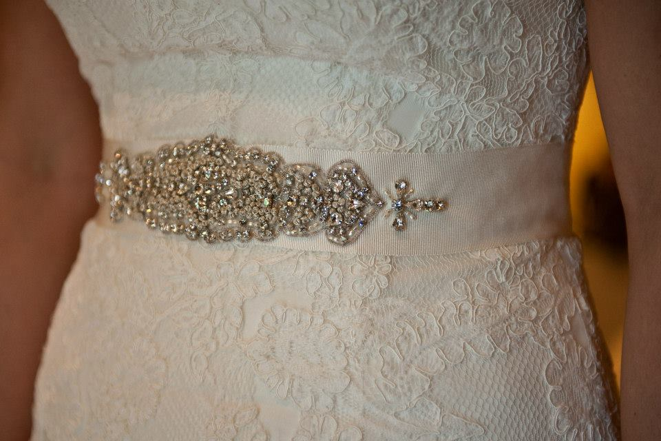 La Sposa '3797783' size 10 used wedding dress front view close up of belt