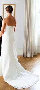Robert Bullock 'Virgina' size 8 used wedding dress back view on bride