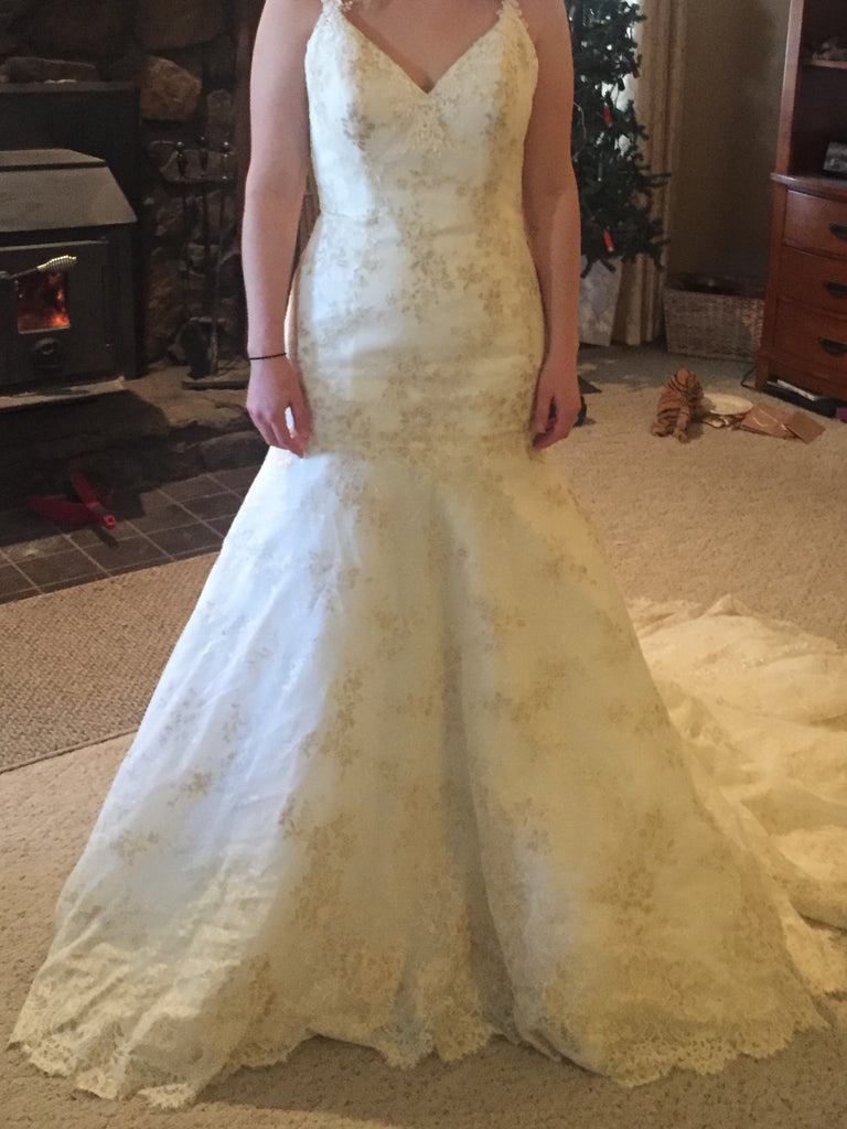 Madison James '105' size 10 sample wedding dress front view on bride