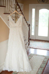 Allure Bridals 'Floral Lace' size 14 used wedding dress front view on hanger