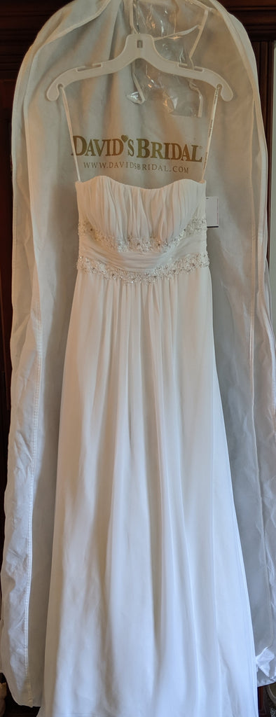 David's Bridal 'Soft Chiffon' size 6 new wedding dress front view on hanger