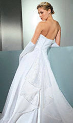 David's Bridal 'Michelangelo Signature' size 10 used wedding dress back view on model