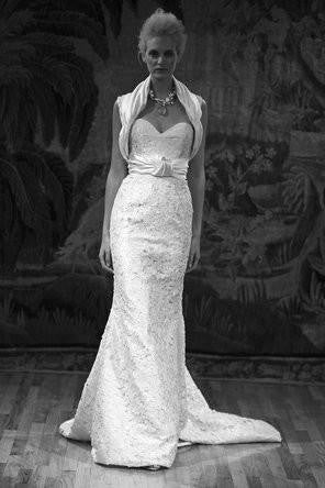 Elizabeth Fillmore 'Amelia' Ivory Silk & Lace Wedding Dress - Elizabeth Fillmore - Nearly Newlywed Bridal Boutique - 1