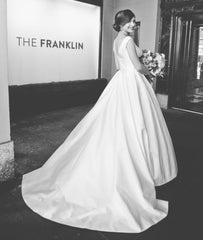Suzanne Neville 'Monet' size 4 used wedding dress back view on bride