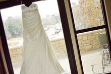 Load image into Gallery viewer, Essence Of Australia 'Ivory Satin 5852' size 8 used wedding dress front view on hanger