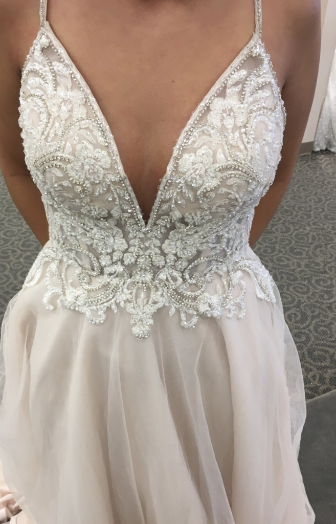David's Bridal 'Ivory Rose Beaded' size 2 used wedding dress front view close up
