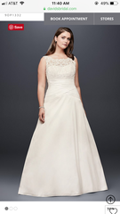 David's Bridal 'Illusion Lace' size 16 new wedding dress front view on model