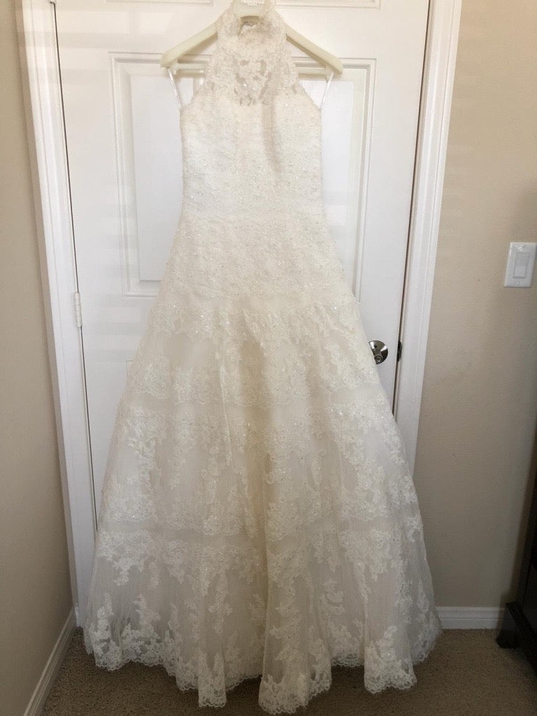 Pronovias 'Barcelona' size 6 used wedding dress front view on hanger