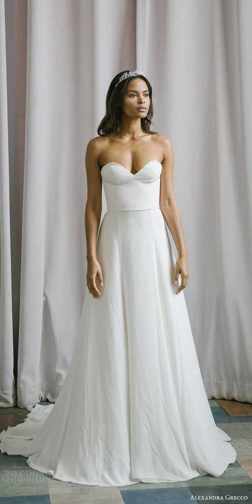 Alexandra Grecco 'Emma' size 8 sample wedding dress front view on model