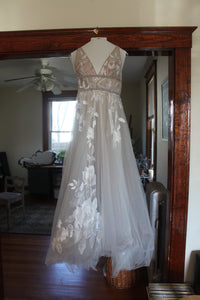 BHLDN 'Hearst' size 6 used wedding dress front view on hanger