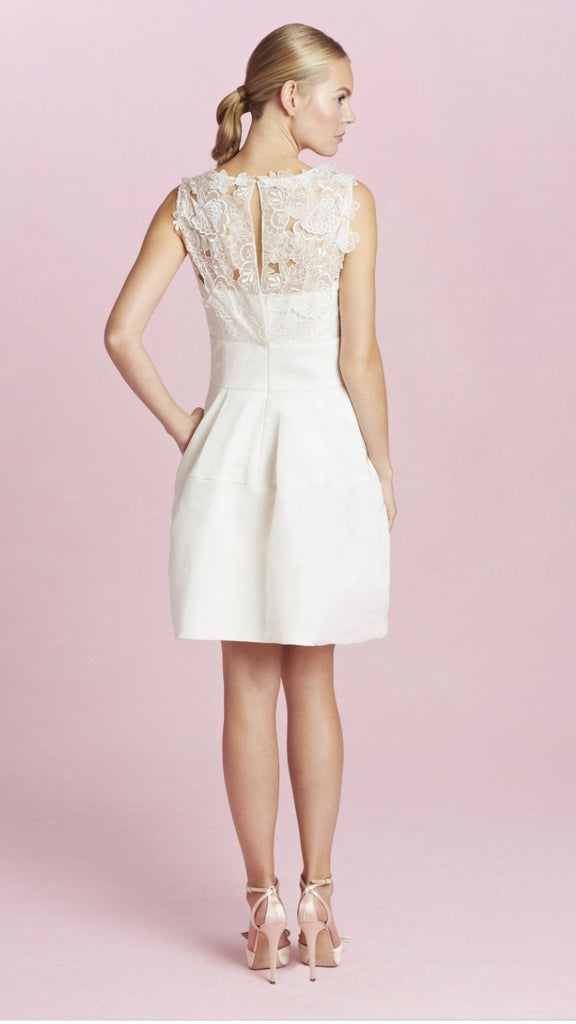 Oscar De La Renta 'Catherine Embroidered Silk Faille' size 4 used wedding dress back view on model