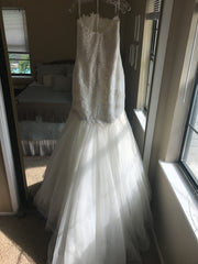 Pronovias 'Ona' size 12 sample wedding dress back view on hanger