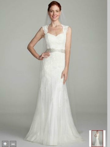 David's Bridal 'Cap Sleeve Lace Trumpet'