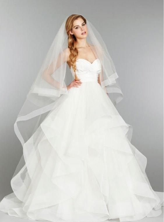 Hayley Paige 'Londyn' size 10 used wedding dress front view on model