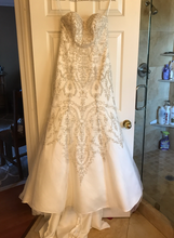 Load image into Gallery viewer, Oleg Cassini 'Classic' size 4 new wedding dress back view on hanger