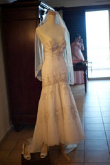 Lazaro Dropped Waist Beaded Mermaid Wedding Dress - Lazaro - Nearly Newlywed Bridal Boutique - 5