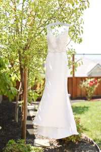 Martina Liana 'Selene' size 0 used wedding dress front view on hanger